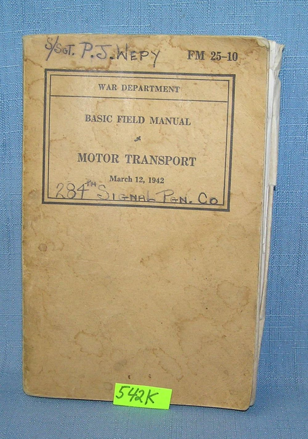 WWII MOTOR TRANSPORT BOOK
