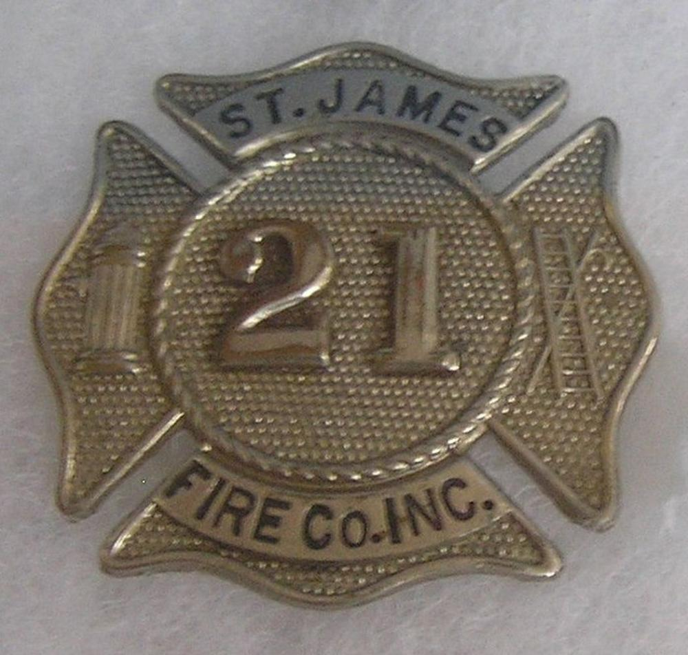 VINTAGE SAINT JAMES FIRE DEPARTMENT BADGE