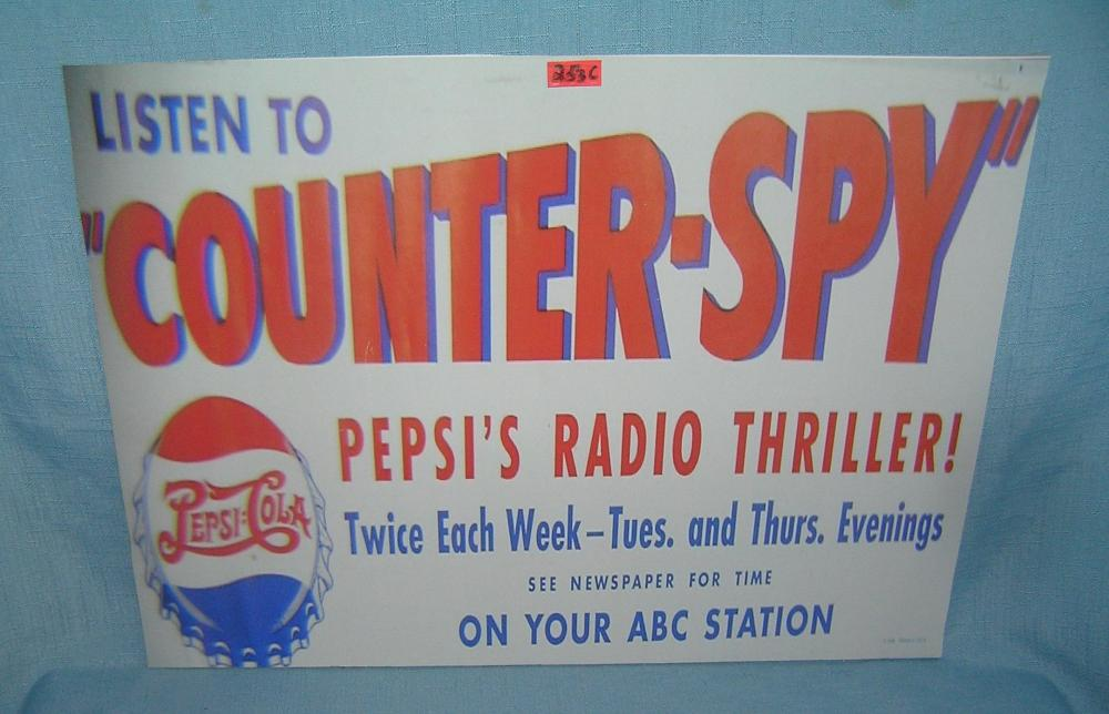 Pepsi Cola radio thriller show retro style advertising sign