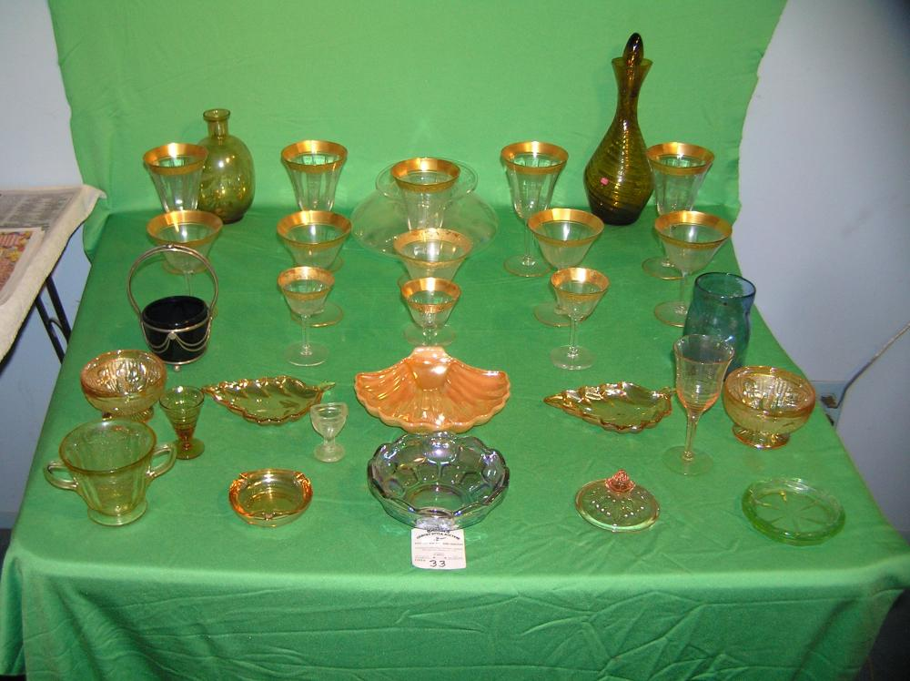 Collection of vintage Depression glass, art glass and more