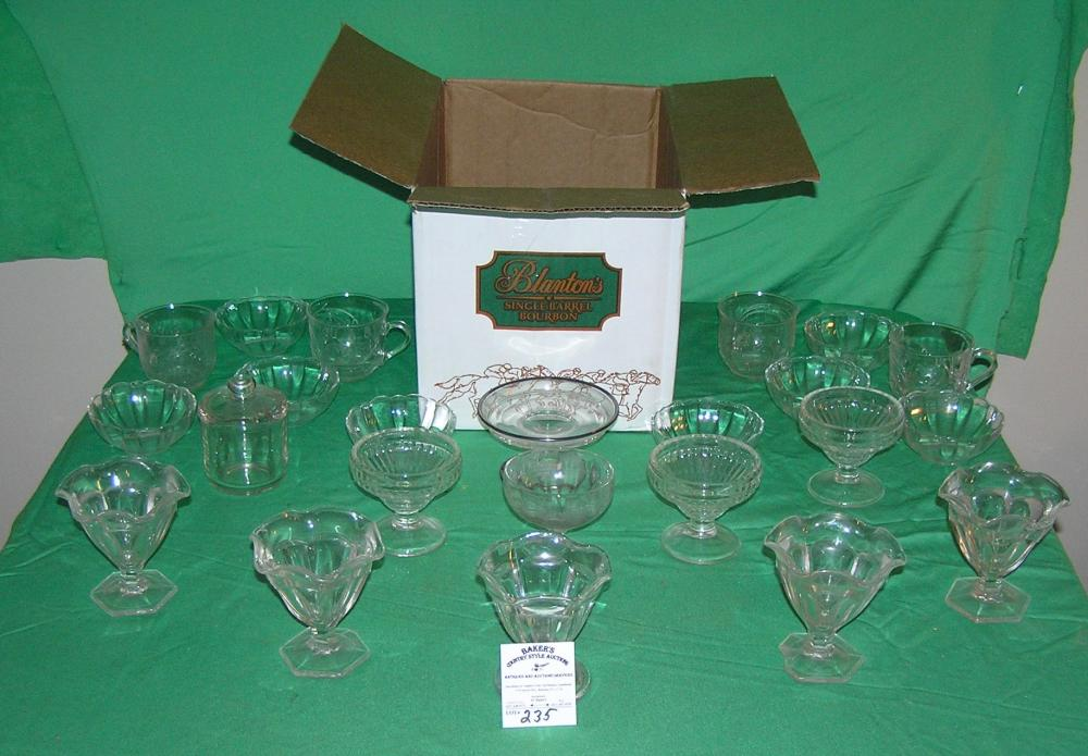 Large box of estate dessert cups, dishes and more