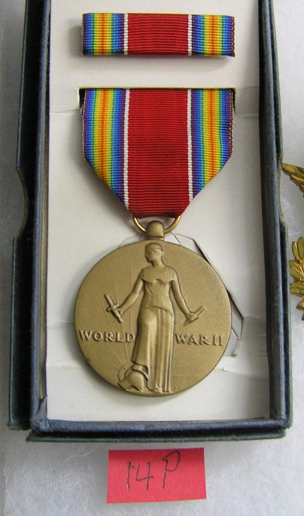 WWII Victory Medal with ribbon and bar in original box
