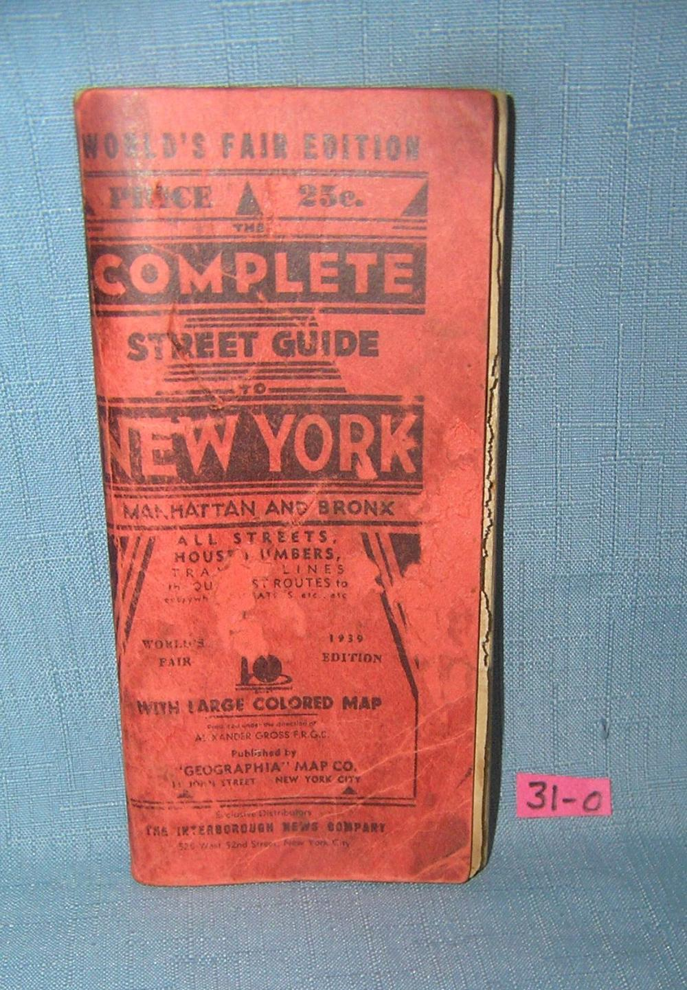 Early 1939 NY World's Fair complete street guide