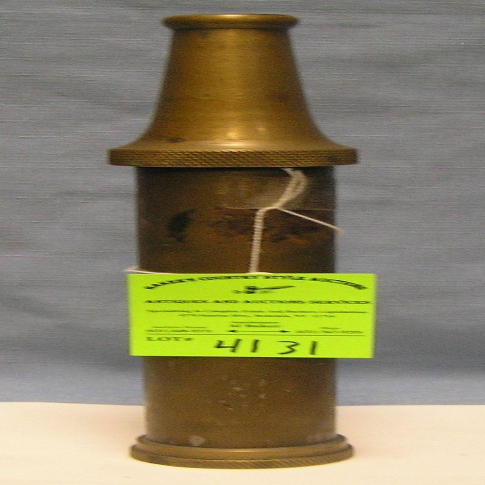 ANTIQUE SOLID BRASS FIRE NOZZLE SHAPED CANISTER