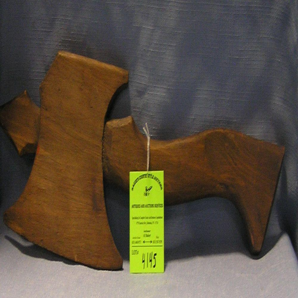 HAND CARVED WOODEN FIRE DEPARTMENT BROAD AXE
