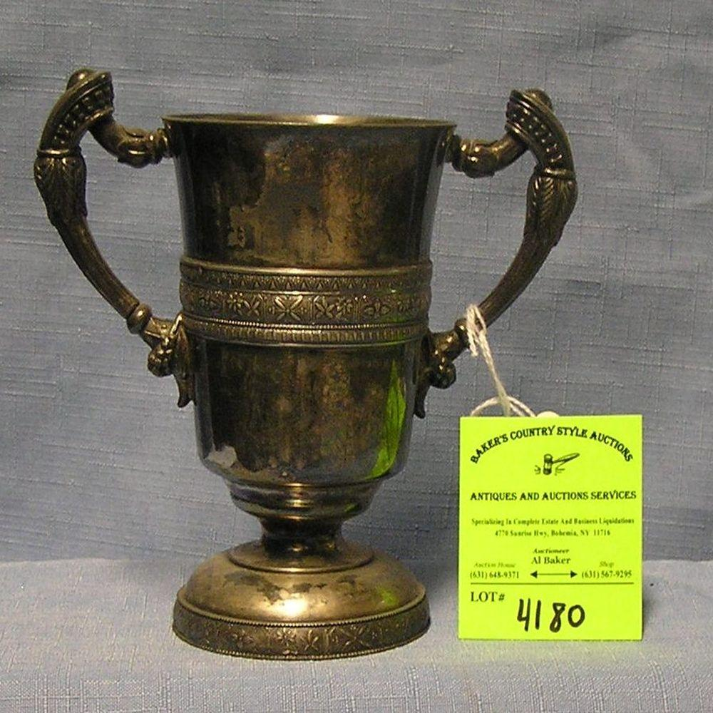 ANTIQUE ORNATE SILVER PLATED DOUBLE HANDLED CUP