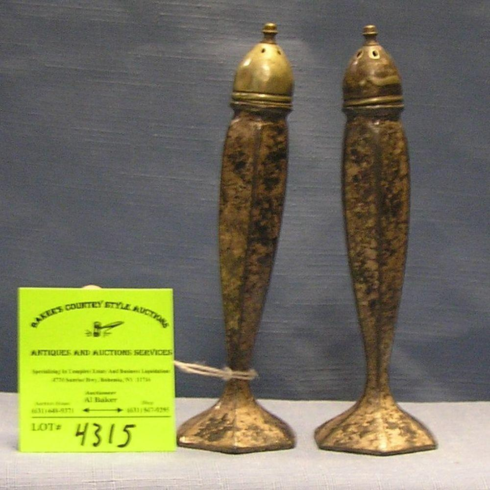 PAIR OF ANTIQUE SILVER PLATED SALT AND PEPPER SHAKERS