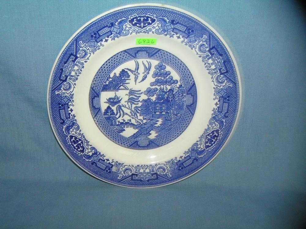 Oriental themed signed blue willow ware plate