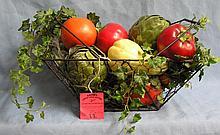 Vintage metal wired fruit basket