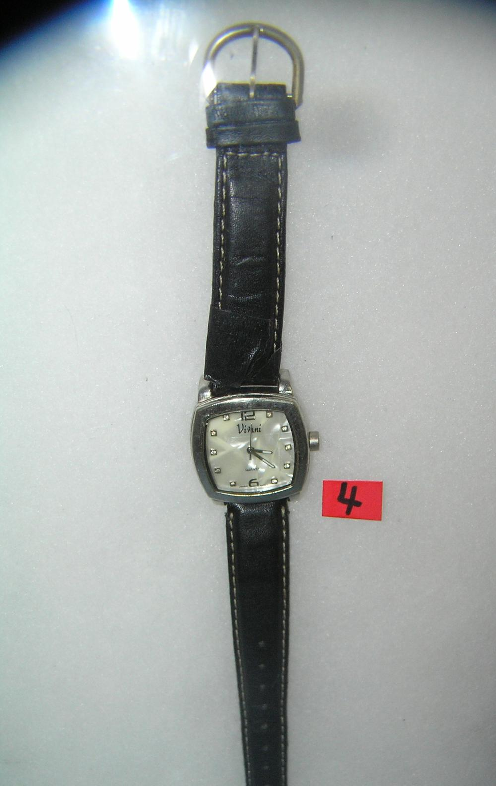 FASHION STYLE WRIST WATCH WITH BLACK LEATHER BAND