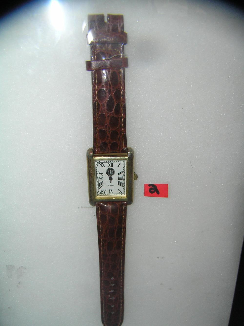FASHION STYLE WATCH WITH BROWN ALLIGATOR STYLE BAND