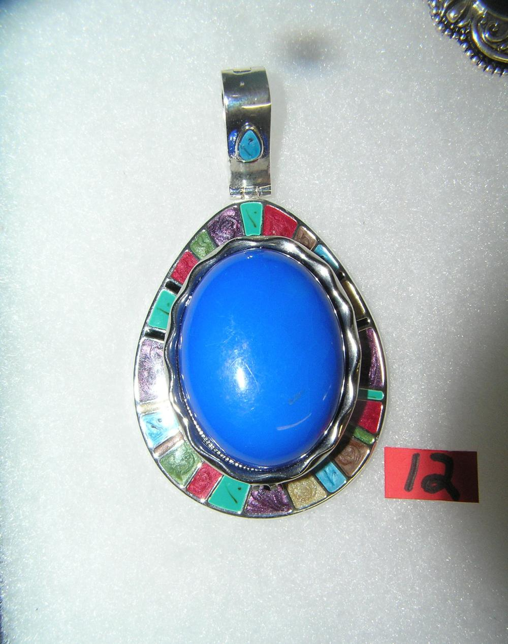 VINTAGE NECKLACE PENDANT WITH LARGE BLUE STONE