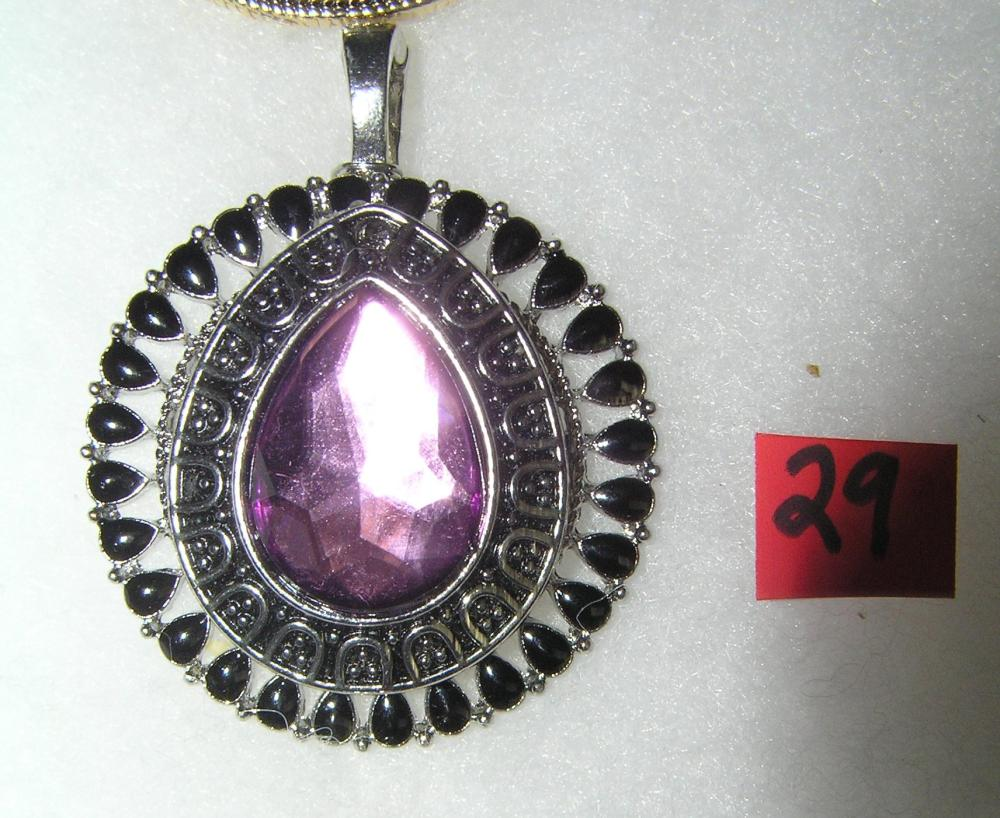VINTAGE NECKLACE PENDANT WITH PURPLE CENTER STONE