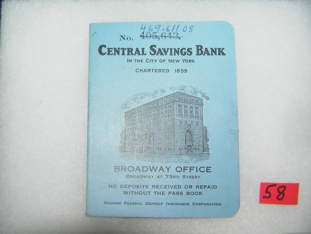 Lot 58: CENTRAL SAVINGS BANK SAVINGS BOOK CIRCA 1950'S