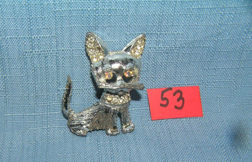 GREAT EARLY FIGURAL CAT PIN