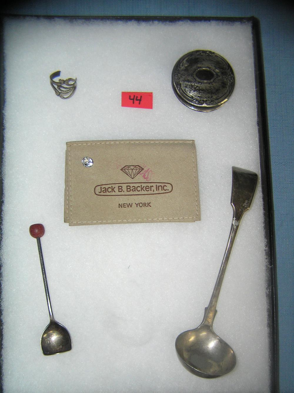 GROUP OF STERLING SILVER, SILVER PLATE AND MORE