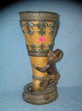 Lot 96: MONKEY AND PAINT DECORATED VASE