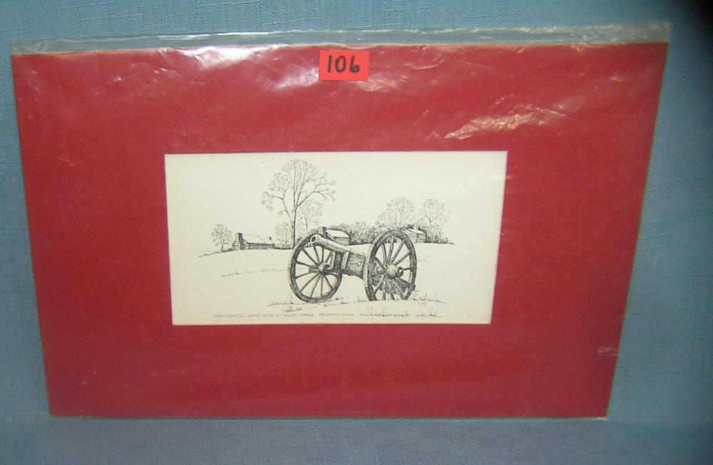 Lot 106: CONTINENTAL ARMY HUTS AT VALLEY FORGE PA PRINT
