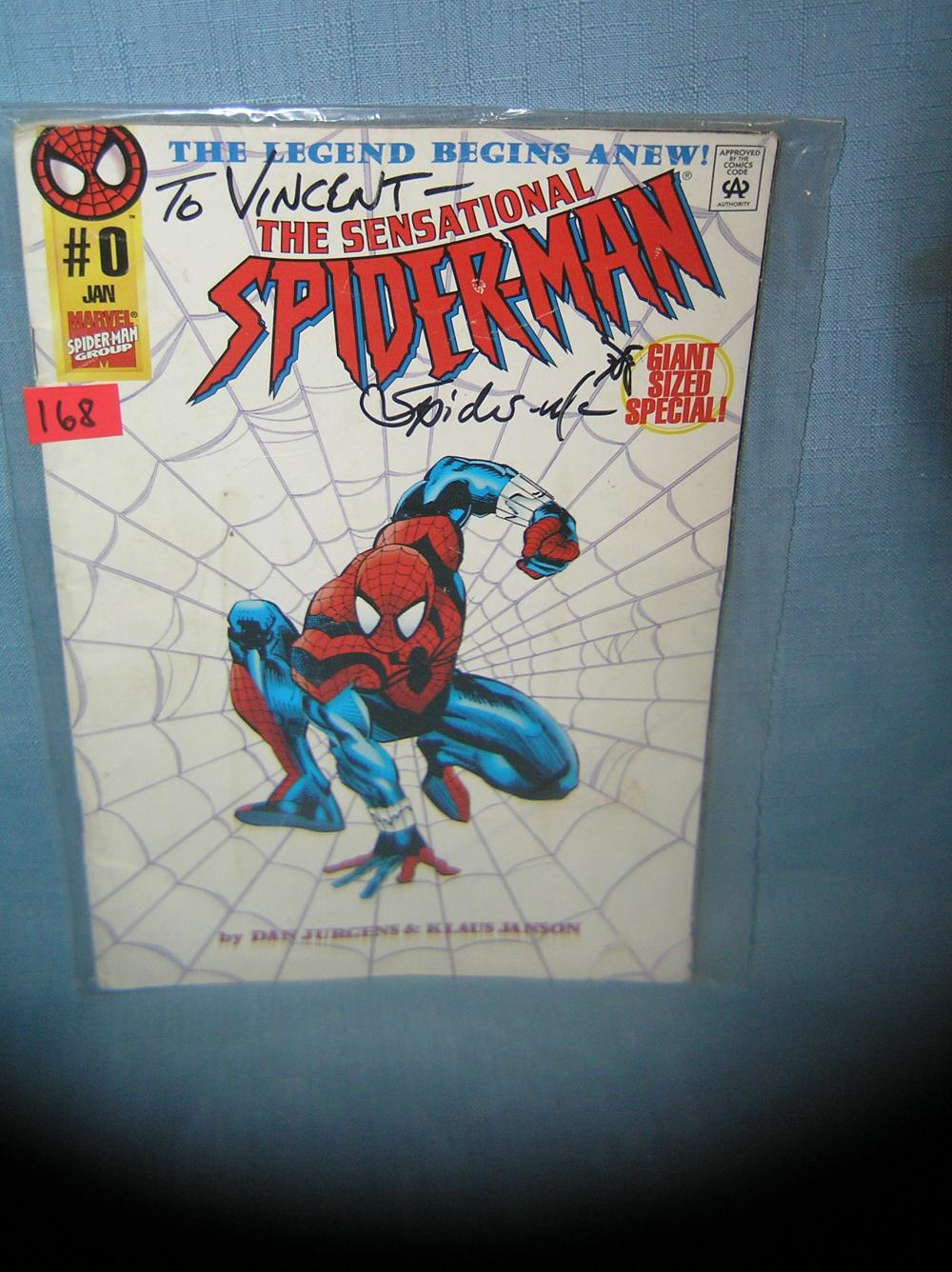 VINTAGE AUTOGRAPHED MARVEL SPIDERMAN COMIC BOOK