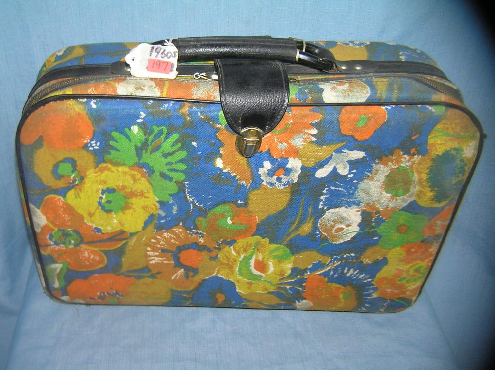 VINTAGE 1960'S FLORAL PATTERN CANVAS CARRYON LUGGAGE