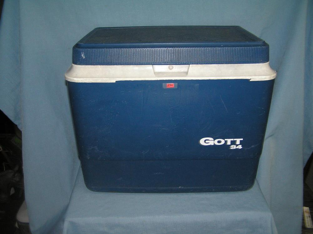 Lot 234: LARGE GOTT NUMBER 34 BEACH OR PICNIC COOLER
