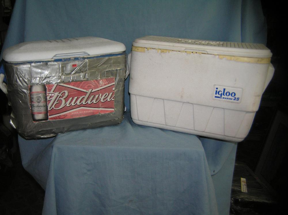 Lot 232: PAIR OF MEDIUM SIZE WORK OR BEACH COOLERS