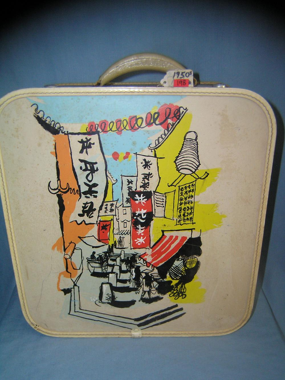 EARLY ASIAN PAINT DECORATED TRAVEL LUGGAGE