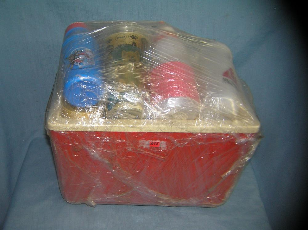 Lot 243: COOLER FULL OF BEVERAGE BOTTLES AND CONTAINERS