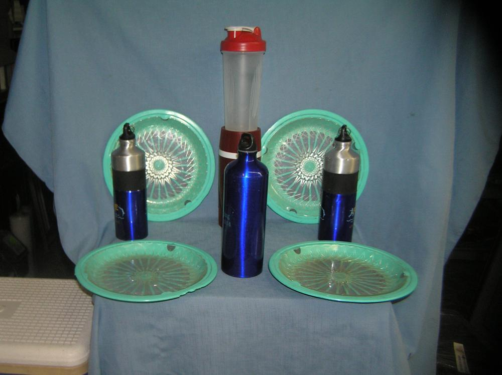 Lot 242: PICNIC SET INCLUDES THERMOS, COOLER BOTTLES AND MORE