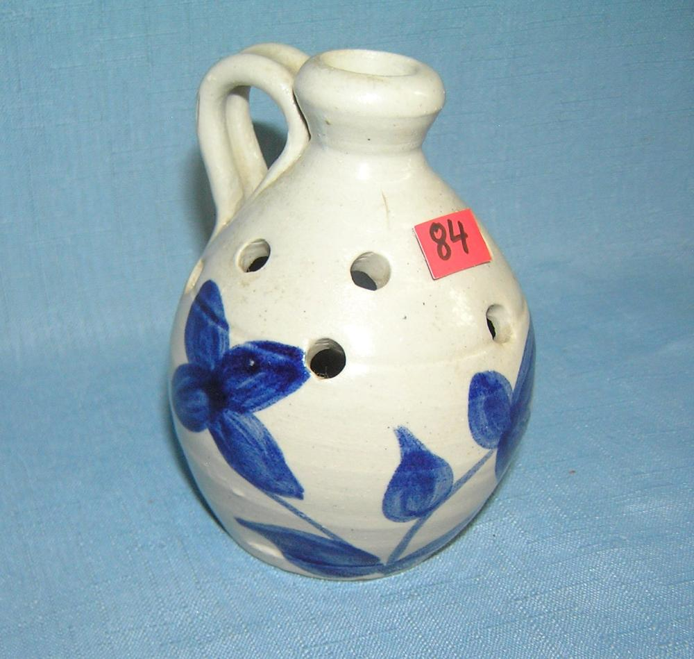 Lot 84: ARTIST SIGNED COBALT BLUE MINI STONEWARE JUG