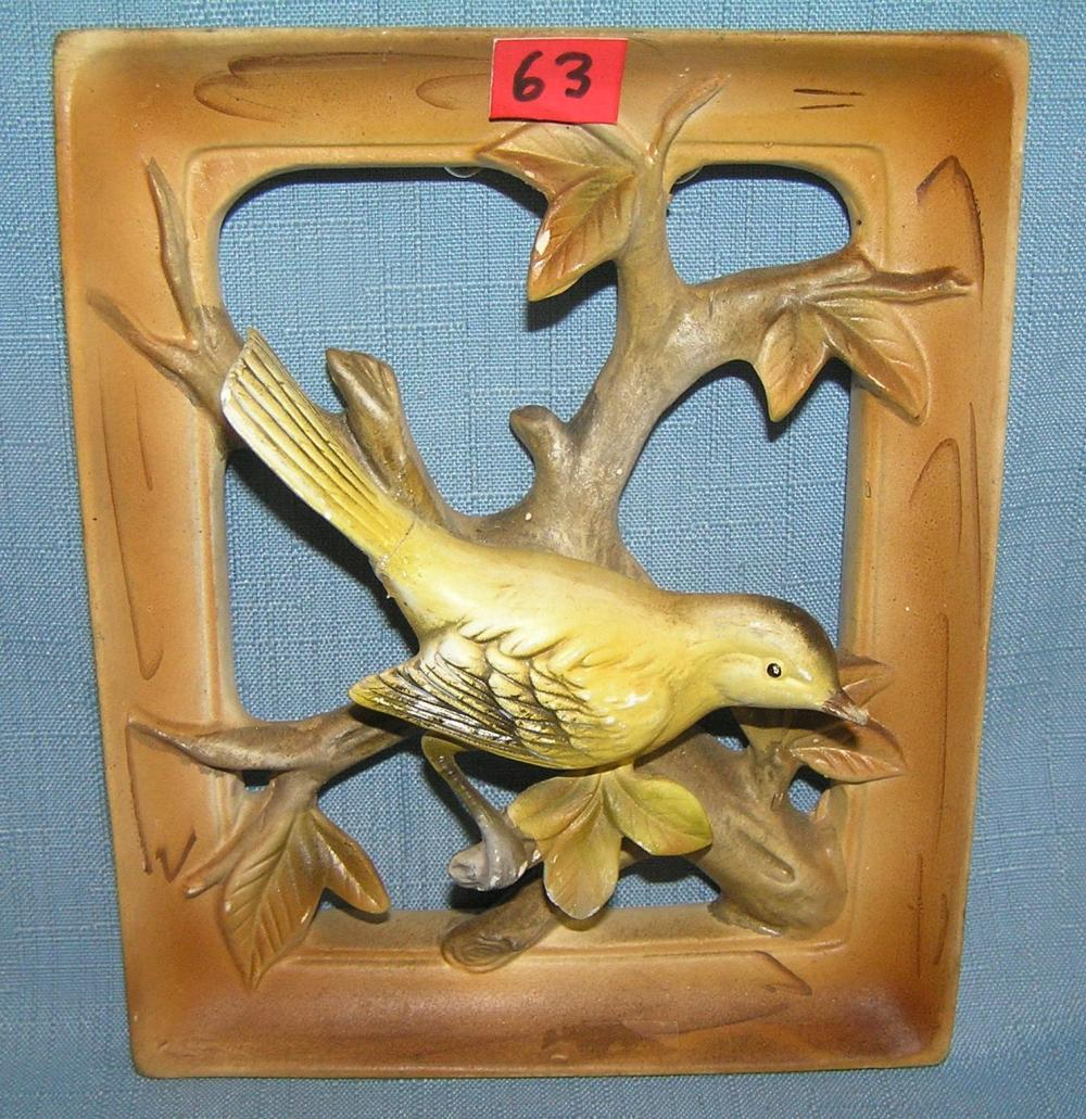 PORCELAIN HAND PAINTED GOLDEN FINCH WALL PLAQUE
