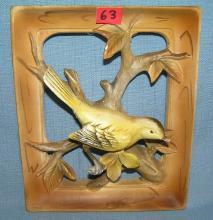 Lot 63: PORCELAIN HAND PAINTED GOLDEN FINCH WALL PLAQUE