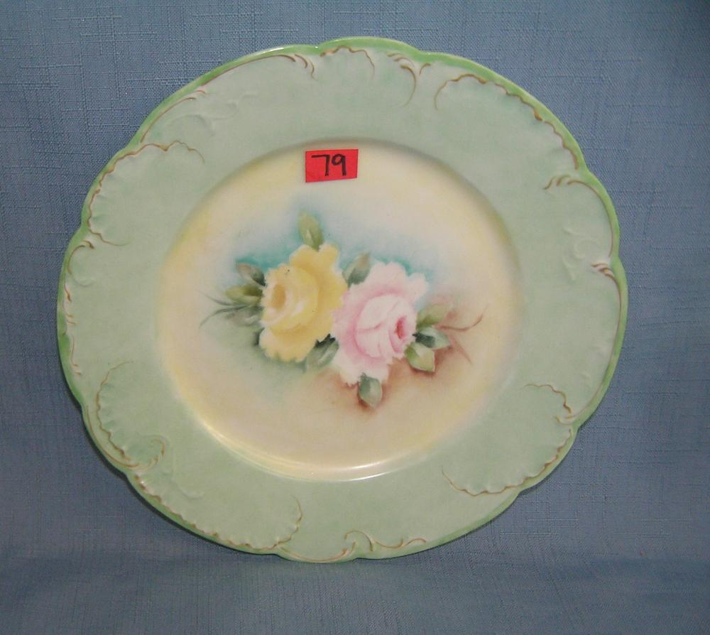 GREAT EARLY HAND PAINTED FLORAL LIMOGES PLATE