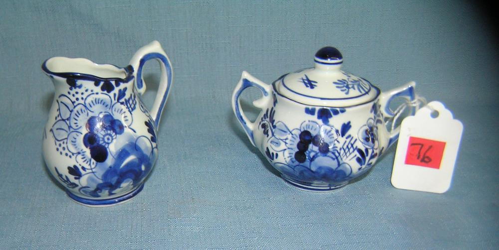 DELFTWARE HAND PAINTED CREAMER AND SUGAR BOWL