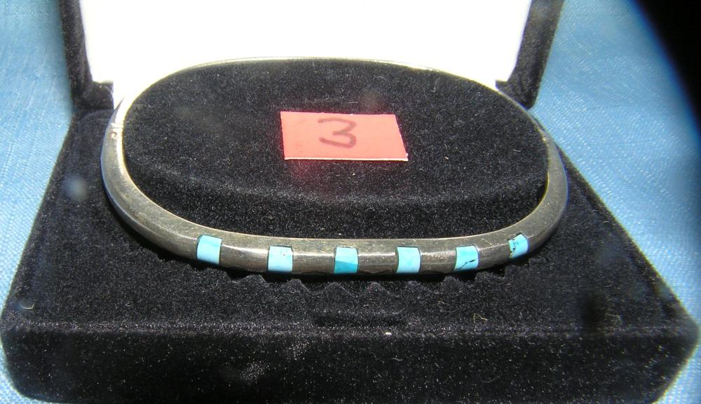 Lot 3: QUALITY MEXICAN SILVER AND TURQUOISE BRACELET