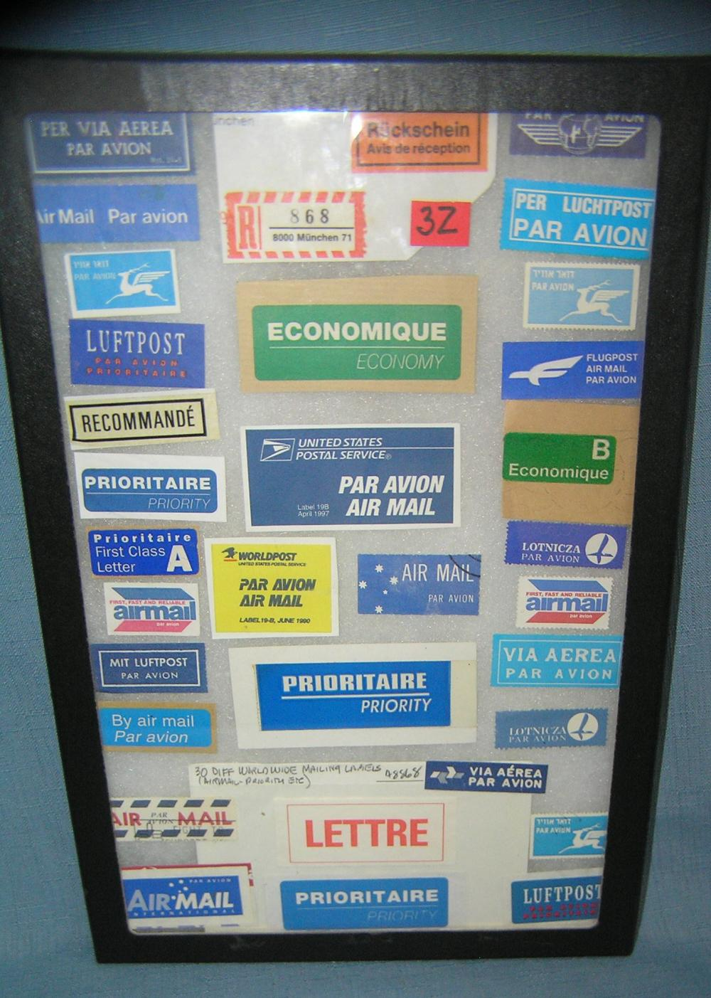 COLLECTION OF WORLDWIDE MAILING LABELS, AIRMAIL, PRIORITY ETC.