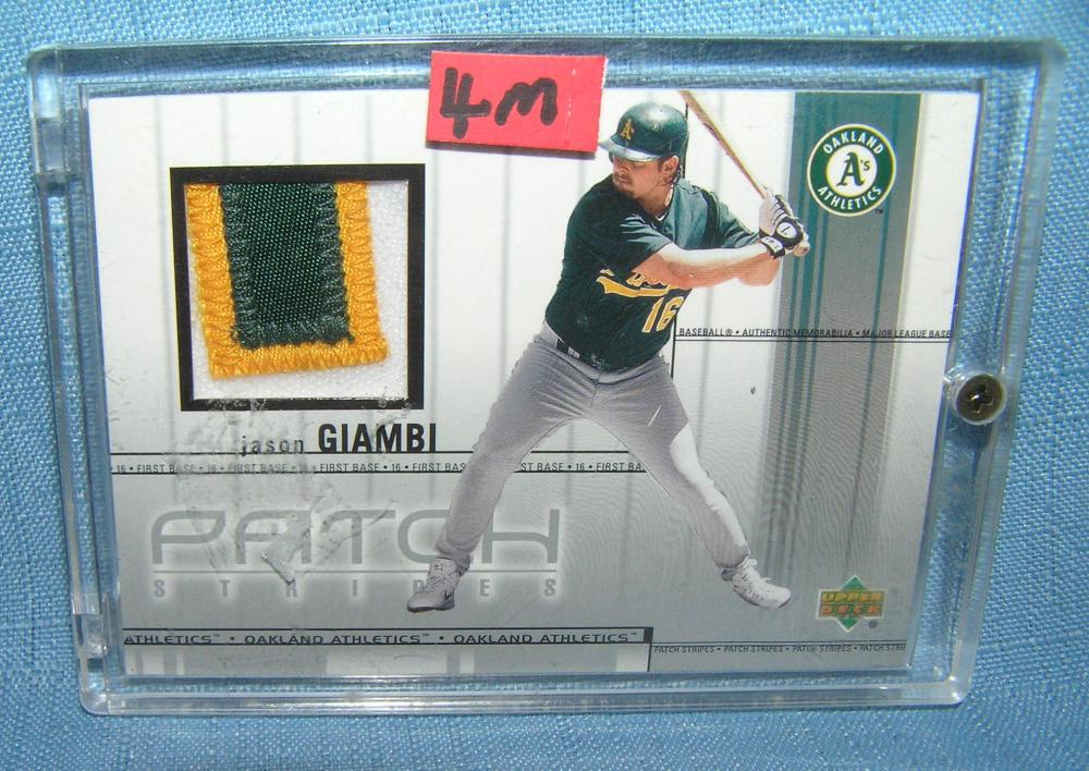 JASON GIAMBI GAME USED PATCH MATERIAL BASEBALL CARD