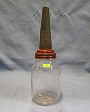 Antique glass and tin spouted oil dispenser