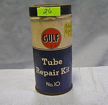 Early Gulf oil company all tin tube repair kit