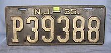 Antique license plate, NJ
