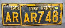 Pair of vintage  PA license plates