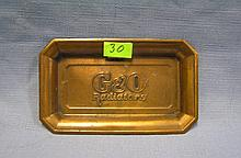 Antique solid brass G & O radiator company promotional tray