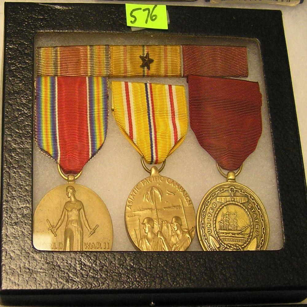 WWII Mil vets 3 piece medal, ribbon & bar set