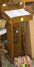 Antique walnut Lectern with illuminated light display and pen holder