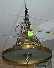 Antique pierced solid brass hanging chandelier