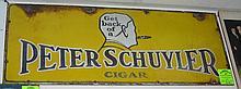 Antique enamel over steel advertising sign for Peter Schuyler cigars