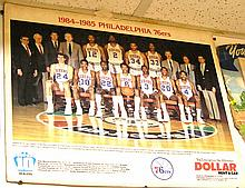 Vintage Philadelphia 76erâ??s team photo advertising display sign