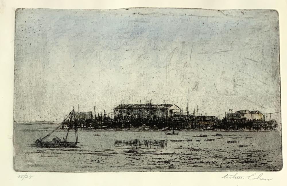 ARTHUR COHEN (1928-2012) Town Wharf, 15/25, Late 20th c., Hand colored etching (with watercolor)