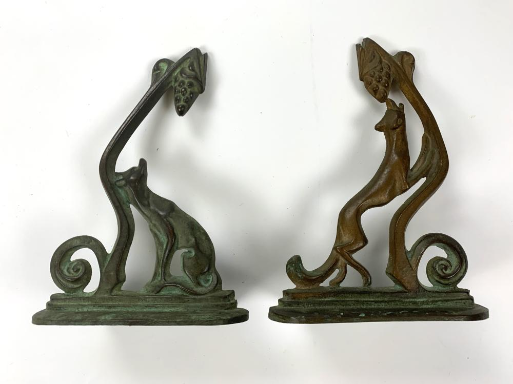 WILLIAM BOOGAR (1893-1958) Pair of Fox and Grapes Bookends, Early 20th c., Bronze