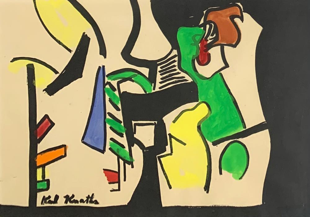 KARL KNATHS (1891-1971) Piano Christmas Card, Hand colored Lithograph